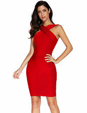 New discount Red chest cross sexy bandage bodycon Christmas Cocktail dress
