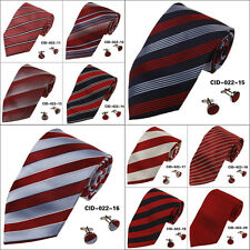 CID-022 Red Fashion Striped Neckties Pretty Valentine Gift for Him By Y&G