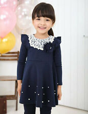 1 X Navy Blue Girls Cotton Dress Toddler Costume Top For Girs