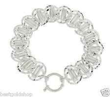 Bold Large RailRoad Interlocked Link Bracelet REAL Sterling Silver QVC J281064