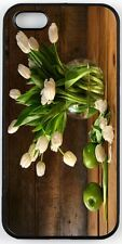 Rikki Knight White Tulips In Glass Vase On Rustic Wood With Green Apples Case fo