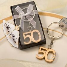 "30 72 or 144 Wedding Anniversary 50th Birthday Party Favors-""50"" Gold Keychains"