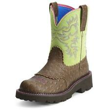 10012821 Ariat Womens FatBaby Distressed Ostrich Print/Lime Cowboy Boots NEW