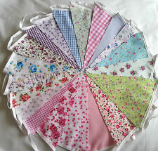 Fabric Bunting Wedding Vintage Shabby & Chic Handmade Floral Lace 10ft/40ft