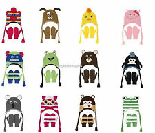 Nuzzles - NOVELTY ANIMAL BEANIE HAT & MITTENS - Large Age 5-9 years