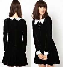 J636 black velvet long sleeves lolita dress victorian gothic white collar