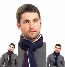 NEW MENS TRADITIONAL STRIPE CHECK CLASSIC WINTER SCARF WARM