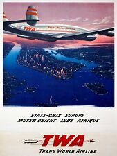 3484.French Aviation travel POSTER.Trans World Air.Home office room Art decor