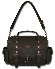 Banned Explorer Brown Faux Leather Copper Buckle Steampunk Shoulder Bag Handbag