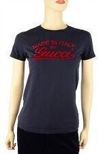 GUCCI TOP WITH SIGNATURE LOGO BLUE 100% COTTON SHORT SLEEVES T - SHIRT TEE