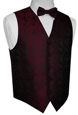 ITALIAN DESIGN BERRY PAISLEY TUXEDO VEST & BOW-TIE SET. SIZES XS-6XL