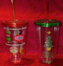DOUBLE WALL INSULATED PLASTIC TUMBLER W/STRAW AND TWIST OFF LID-18 OZ. NEW