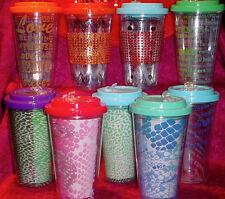 DOUBLE WALL INSULATED PLASTIC TUMBLER W/STRAW AND TWIST OFF LID-16 OZ. NEW