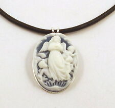 Beautiful Angel Resin Cameo on 2mm Black Leather Necklace-0657