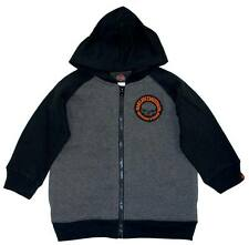 Harley-Davidson Boys Skull Fleece Zipper Hoodie Grey & Black Toddler 0371472