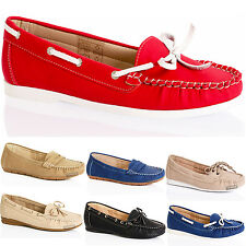 WOMENS LADIES FLAT LEATHER COMFORT INSOLE LACE LOAFER PUMPS BOAT SHOES SIZE