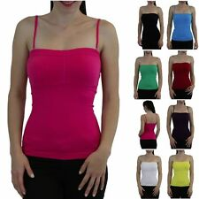 Women's Seamless Padded Convertible Adjustable Strapless Bandeau Tube Tank Top