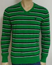 American Eagle Outfitters AEO Mens Green Stripe V-Neck Sweater New NWT