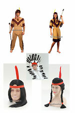 Adult Red American Indian Brave Squaw Headdress Wig Fancy Dress Costume