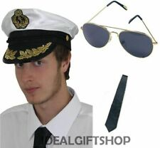 ADULTS SATIN CAPTAIN HAT SAILOR SEA FANCY DRESS ACCESSORY NAVAL OFFICER MARINE