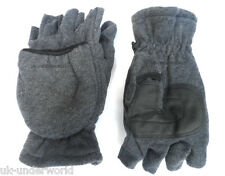 MENS LADIES GREY THERMAL INSULATION FINGERLESS CAPPED WARM GLOVES MITTEN COMBO