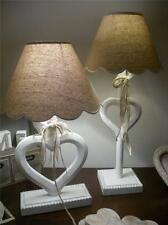 BEIGE CREAM HEART TABLE LAMP RIBBONS SHADE LIGHT CHIC SHABBY RUSTIC HOME LINEN