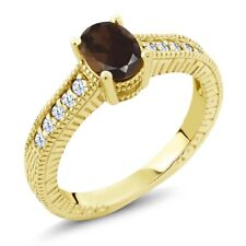 1.15 Ct Oval Brown Smoky Quartz White Topaz 18K Yellow Gold Plated Silver Ring