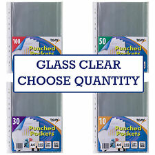 A4 STRONG GLASS CLEAR PLASTIC WALLETS Poly Punched Pocket Document Paper Sleeves