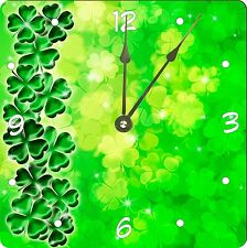Rikki Knight Four Leaf Clover on Shamrock Irish Design Wall Clock