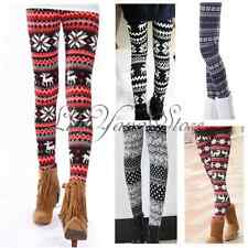 Lady Reindeers Snowflakes Knit Tights Stretchy Winter Pants Warm Leggings New