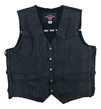 Black Mens Leather Cruiser Biker Waistcoat / Gillet For Motorcycle Motorbike
