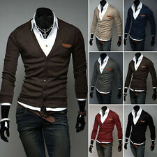 Hot Stylish Men Slim Cotton Knit Sweater Cardigan Casual Deep V Neck Basic Coat