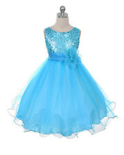 New Flower Girl Sequin Dress Pageant Christmas Graduation Easter Aqua Silver USA