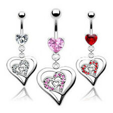 Prong Set Heart Gem Heart Within Heart Dangle Belly Navel Ring Body Jewelry