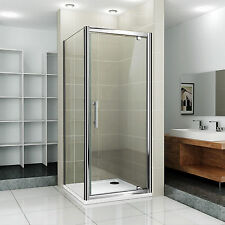 760 Pivot Shower Door , Side Panel & Stone Low Profile Tray Enclosure Cubical