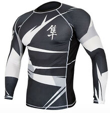 Hayabusa Metaru 47 Silver Long Sleeve Rashguard - Black/White