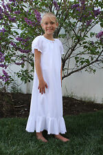 Girls Tricot Nightgown * Short Sleeves * Bottom Ruffle