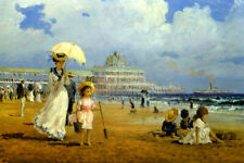 GLORIOUS SUMMER BEACH CHILDREN PLAYING IN THE SAND PAINTING BY ALAN MALEY REPRO