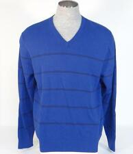 Izod V-Neck Blue & Black Stripe Long Sleeve Knit Cotton Sweater Mens NWT