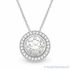 Round Brilliant Cut Micro-Pave CZ Crystal Halo Pendant 925 Sterling Silver Chain