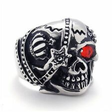 Pirate Skull Ring Red Crystal Eye  Titanium Steel Jewelry for Men SZ14-74647