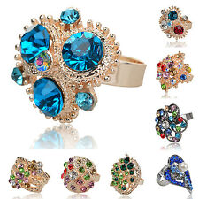 Flower Rhinestone Adjustable Statement Gemstone Class Cocktail Finger Ring Z227