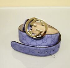 NEW Gucci Guccissima Leather Belt Interlocking G Buckle, Blue, 114876 4316