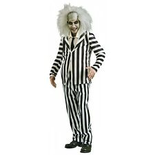 Beetlejuice Costume Adult Mens Funny Ghost 80s Movie Halloween Fancy Dress