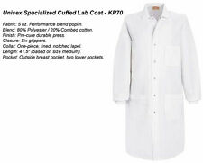 Unisex LAB COAT w/ Cuffs Medical Dental Vet Red Kap KP70 Costume Halloween