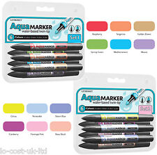 LETRASET WATER BASED TWIN TIP AQUAMARKER SET OF 6  WATERCOLOUR INK AQUA MARKERS