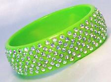 Bangle Bracelet Summer Color Wide Lucite Clear Crystals in 8 Colors