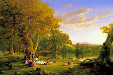 THE PICNIC FAMILY OUTDOOR MEAL LAKE LANDSCAPE PAINTING BY THOMAS COLE REPRO