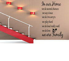 Family In Our Home Vinyl Wall Decal Sticker Art inspirational quotes play hard