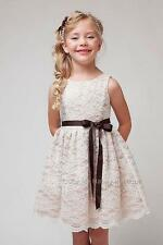 New Ivory Taupe Lace Dress Flower Girl Easter Party Graduation Holiday USA 1227